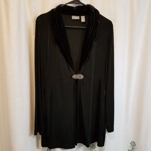 Travelers by chico's black velvet broach jacket